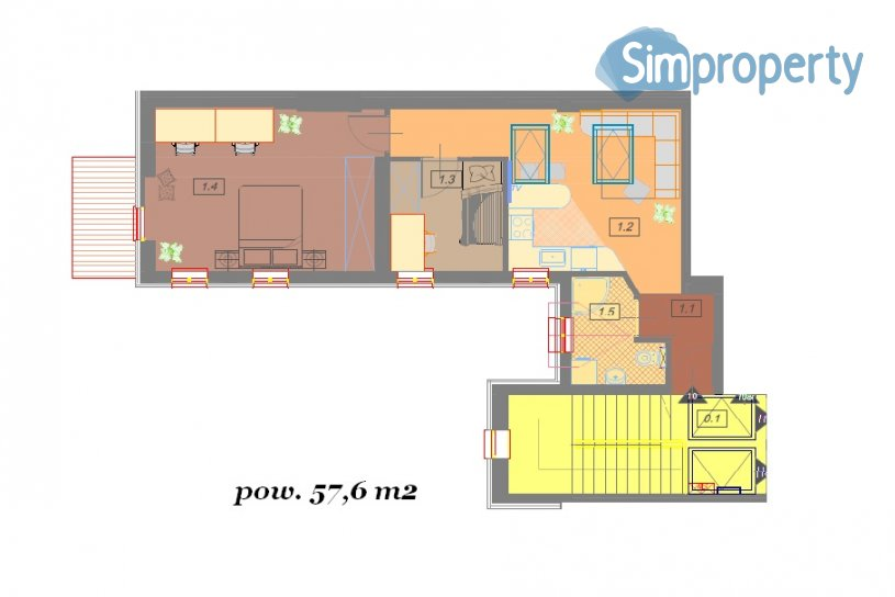Two bedroom apartment - 57,6 m2 in center of Kraków